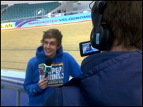 Iain chats to the camera about the cycling challenge