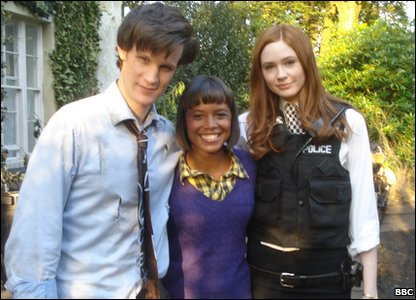 Matt Smith, Leah and Karen Gillan