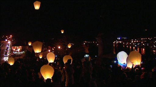 Paper lanterns are released