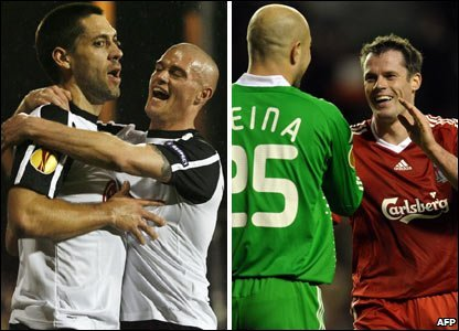 From left to right: Clint Dempsey, Paul Konchesky, Pepe Reina, Jamie Carragher