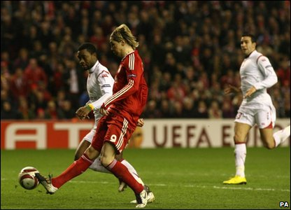 "Liverpool""s Fernando Torres scoring his side's second goal"