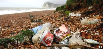Litter on British beach