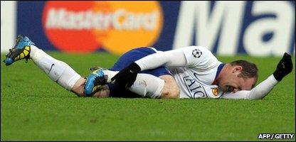 Wayne Rooney fell over on his ankle