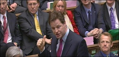 Liberal Democrat leader Nick Clegg and some MPs