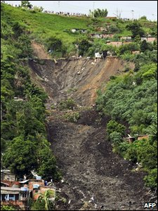 General view of a landslide