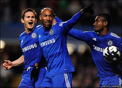 Chelsea striker Nicolas Anelka celebrates his goal with teammates Frank Lampard and Salomon Kalou.