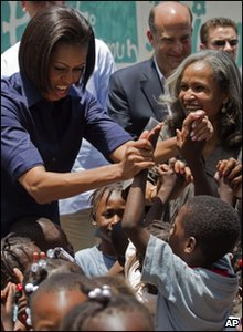 Michelle Obama with Haitian children