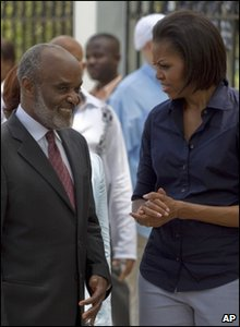 Michelle Obama with Haiti President Rene Preval