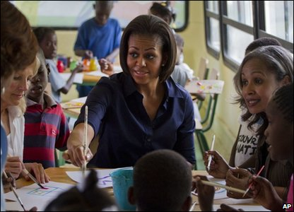 Michelle Obama at a school