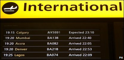 Flight board at Heathrow airport showing arrivals after the flight ban was lifted