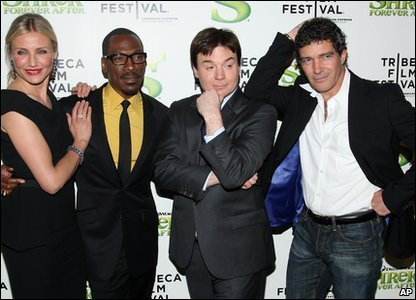The film features Cameron Diaz as the voice of Princess Fiona,  Eddie Murphy as the Donkey, Mike Myers as Shrek and Antonio Banderas as Puss in Boots.
