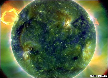Check out the green sun! The unmanned spacecraft called the Solar Dynamics Observatory cost over �500 million!