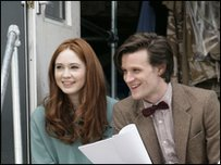 Karen with Matt Smith on set
