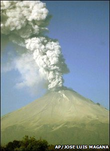 The Popocatepetl volcano in Mexico