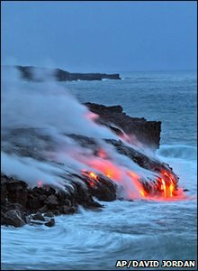 Lava from a volcano in Hawaii