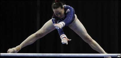 Beth Tweddle on the uneven bars