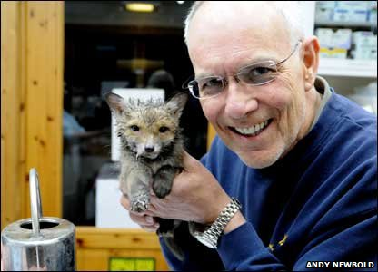 Fox cub with animal expert Simon Cowell