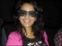 Sonali watching the film in 3D