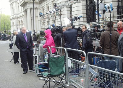 Camera crews and reporters at Downing Street