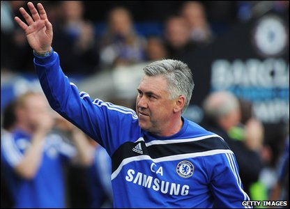 Boss Carlo Ancelotti celebrates his biggest win as manager of Chelsea.