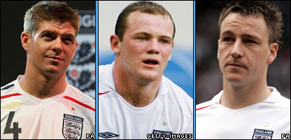 Gerrard, Rooney and Terry