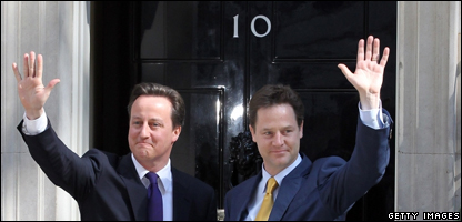 David Cameron on the left, Nick Clegg on the right