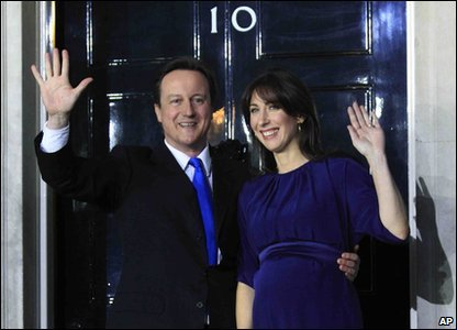 David and Samantha Cameron outside 10 Downing Street