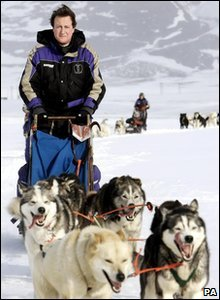 David Cameron on a dog sled