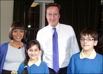 David Cameron with Leah and Press Packers Arian and Nivar