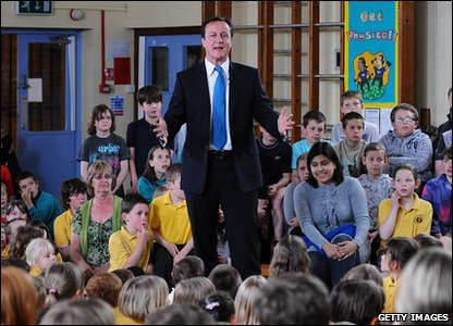 David Cameron talking to schoolkids