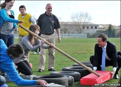 David Cameron takes part in a school team-building exercise