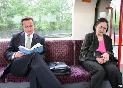 David Cameron on a tube train