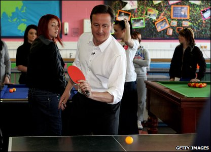 David Cameron playing table tennis
