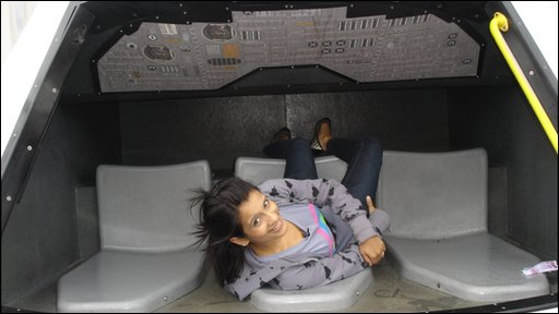 Sonali in an escape capsule