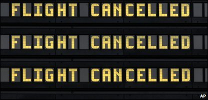 A flight board showing cancellation at Newcastle International Airport on Sunday.
