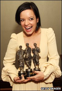 Lily Allen with her 3 Ivor Novello awards