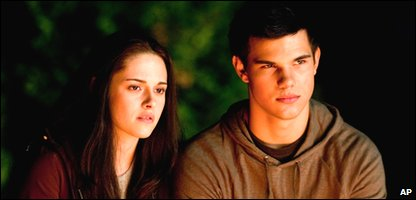 Kristen Stewart and Taylor Lautner in a scene from the next Twilight movie, Eclipse
