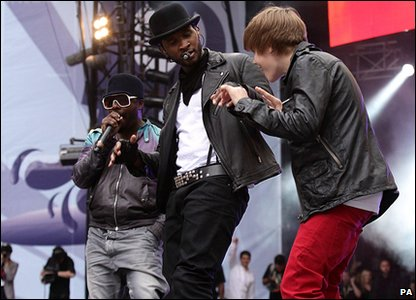Will.i.am, Usher and Justin Bieber