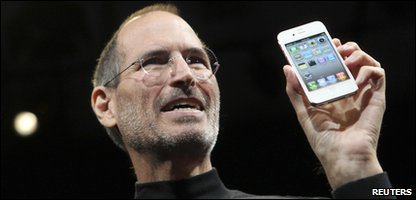 Apple boss Steve Jobs shows off the iPhone 4