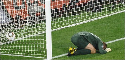 England goalkeeper Robert Green upset after letting a goal in during England v USA match.
