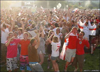 Millions of England fans all over the world are watching the game - these guys at the Isle of Wight festival celebrate as England take the lead.
