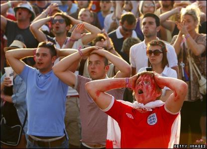 England fans show just how disappointed they are by Robert Green's blunder.