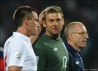 John Terry consoles Robert Green. Later Terry the squad was fully behind the goalie.