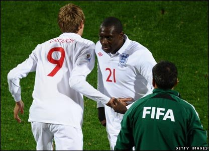 Emile Heskey comes off and Peter Crouch comes on in the 79th minute..Could Fabio Capello be regretting his initial line-up?