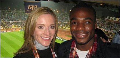 Ore with BBC sports presenter Gabby Logan