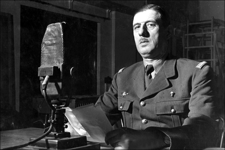 General Charles De Gaulle broadcasting from a BBC studio to his fellow countrymen in France in
