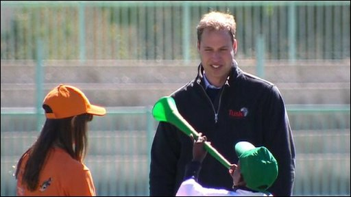 Prince William blows the vuvuzela