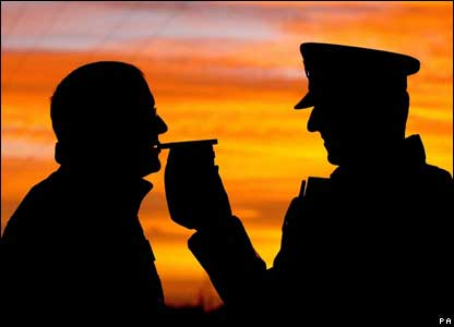 Policeman doing a breath test