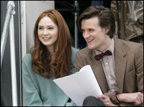 Karen Gillan and Matt Smith have a laugh on set