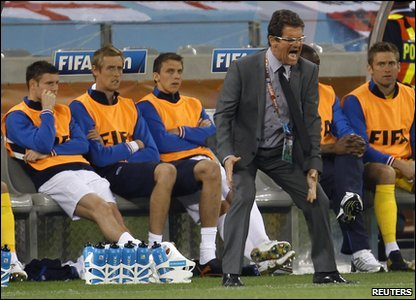 Boss Fabio Capello showing his frustration at England's performance....Not a great way to celebrate a birthday!